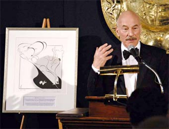 Patrick Stewart at the National Arts Club after accepting the 2008 Gielgud Award